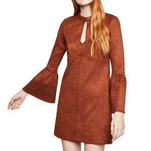 BCBGGeneration Faux Suede Flared Sleeve Mini Dress